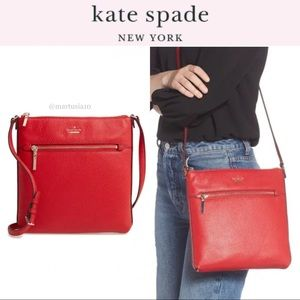 Kate Spade Red Large Shirley Leather Crossbody Bag